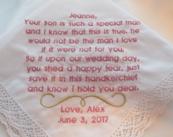 Mother of the Groom Embroidered Wedding Handkerchiefs