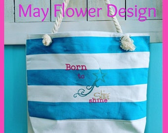 Blue and white Stripes Tote Bag / Beach Tote Bag / Turquoise Beach Bag