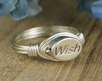 Wish Ring- Sterling Silver, Yellow or Rose Gold Filled Wire Wrapped with Oval WISH Word Sterling Silver Bead-Size 4 5 6 7 8 9 10 11 12 13 14