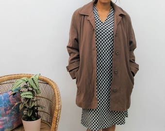 1980s Brown Wool Coat Size UK 12/14, US 8/10, EU 40/42