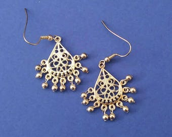 Silver beaded chandelier earrings