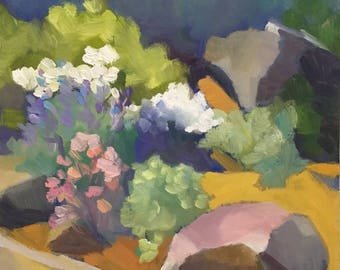 The Rock Garden Small Landscape Painting Plein Air Abstract