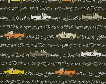 SUMMER SALE Taupe Scribble Cars from Michael Miller
