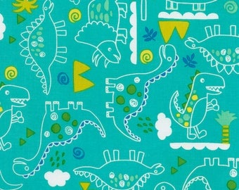 Outlined Dinosaurs on Turquoise Green from Timeless Treasures