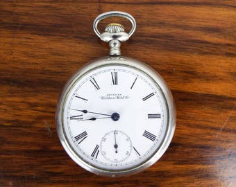 Antique American Waltham Watch Co Pocket Watch w Vintage Silvered Case Wind Up, Grandfather Christmas Gift Ideas, Granddad Presents
