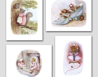 Nursery Art Girl (Beatrix Potter Book Artwork, Childrens Room Decor) 5x7 or 8x10 Prints --- Set of 4