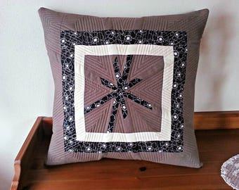 Modern quilted pillow - decorative pillow - brown pillow - quilted pillow cover - patchwork pillow