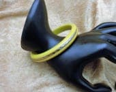 Carved Bakelite Bangle Bright Yellow with Silver Band Simichrome Tested 1930's Bright Yellow Bakelite Bracelet with Chrome Trim