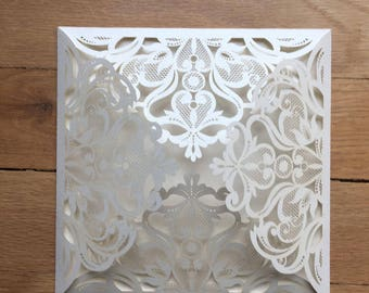 The Love Lace (OPAL) and Flower Design (IVORY)//A 6x6- 4 Panel Laser cut Square Invitation - Ivory Metallic