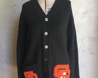 Vintage Wool Black Letterman Sweater with Athletic Pins and Orange Patches