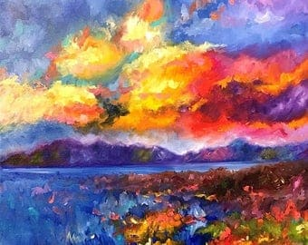 50% off SALE Sunset over Mountain and Lake, Original Hand Painted Oil Painting. Size 16 x 16 canvas