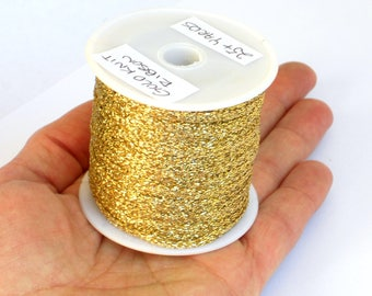Sparkly Gold Ribbon - Wedding Gift Wrap, Greeting Card & Millinery Supply - 25 yards = 75 feet