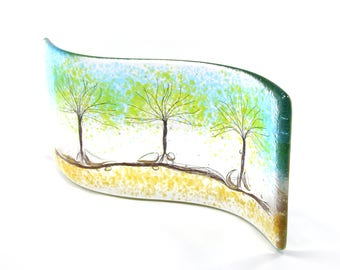 3 Green Trees Fused Glass Curve, Glass Art, Gift, free standing, trees, fused glass trees, glass gift