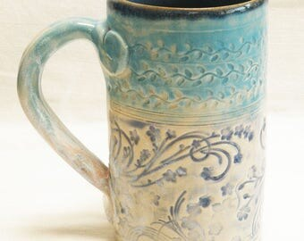 ceramic artisan floral coffee mug 16oz  stoneware 16D082