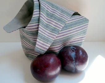 Striped Bento Bag, Purple and Green, Lunch Bag, Knitting Bag