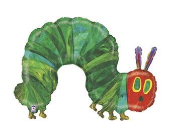 "Very Hungry Caterpillar Balloon Huge 43"" Foil Mylar Balloon Holographic Balloon The Very Hungry Caterpillar"