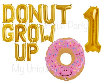 """DONUT GROW UP Balloons Letter Balloons Air Fill only / Large 32"""" Donut Balloon Helium Quality / Large Number """"1"""" Balloon Helium Quality"""