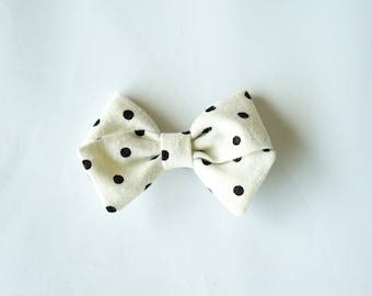 Linen Hand Folded Bow Clip or Headband Nylon Skinny Headband