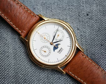 Vintage Timex Moonphase watch with day date complication very nice condition