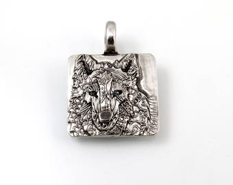 Sterling Silver, Wolf Pendant, Wolf Head Pendant, Wolf Jewelry, Wolf Totem, Totem Wolf, Wolf Totem Jewelry, Wolf Necklace, Gray Wolf, 988aj