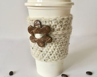 Coffee sleeve, coffee cozy, natural tweed coffee cup cozy, coffee lover gift, crochet cup cozy, vegan gift, stocking stuffer