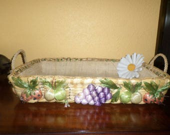 Island Straw Market/Floral Straw Serving Tray/All Natural