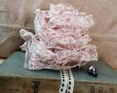Retro Mauve + Ivory Net Lace Dress Trim Yardage - Vintage Sewing Trim, Millinery Lace Supply, Seamstress Lace, Ivory Lace, Sewin Notion