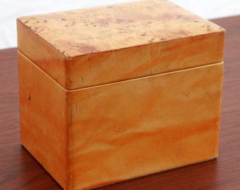 Vintage Leather & Burlwood Trinket Box or Humidor Made in Italy