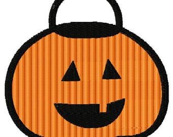Pumpkin Trick or Treat Bag Embroidery Design - Instant Download