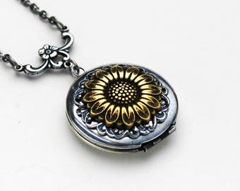 Sunflower Necklace, Sunflower Locket Necklace, Silver Sunflower Locket, Sunflower Jewelry, Sunflower Pendant, Birthday Gift, Bridesmaid Gift