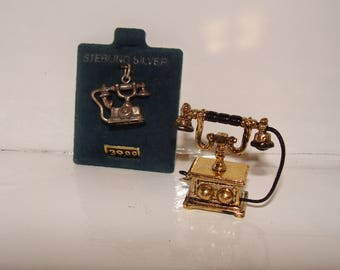 Telephone Charm in Sterling, Telephone for Dollhouse, You Choose Which You Need