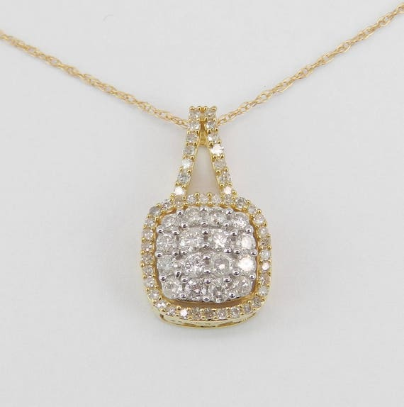 """Diamond Cluster Pendant Drop Halo Wedding Necklace Yellow and White Gold 18"""" Chain"""