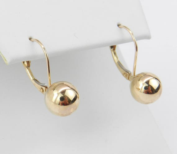 Vintage Estate 14K Yellow Gold Leverback Ball Earrings FREE SHIPPING Fine Jewelry