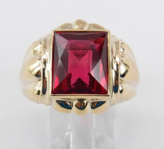 Vintage Antique Mens Lab Corundum Ring Solitaire Pinky Yellow Gold Size 10