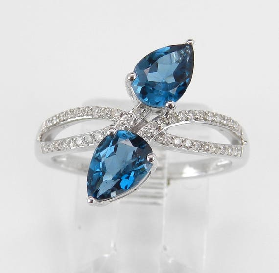 1.73 ct Diamond and London Blue Topaz Cocktail Bypass Ring White Gold Size 7