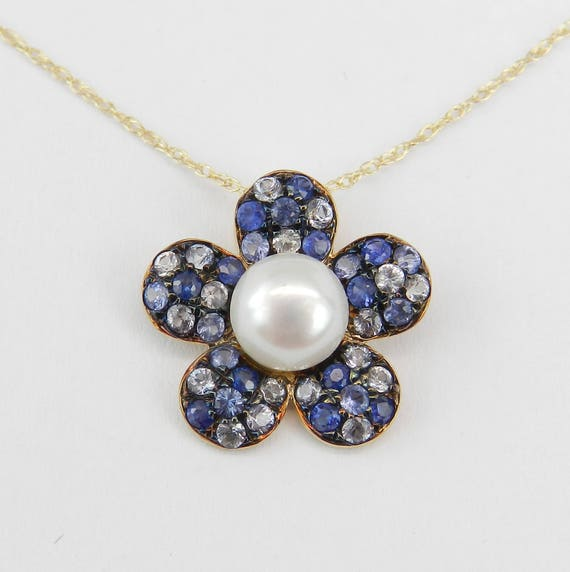 "14K Yellow Gold Pearl and Sapphire Flower Pendant Necklace Chain 18"" June and September Gem"
