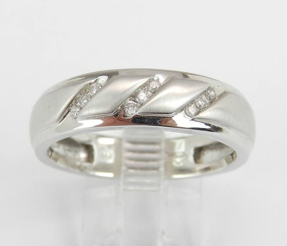 Mens Diamond Wedding Band Unique Anniversary Ring White Gold Size 10.5