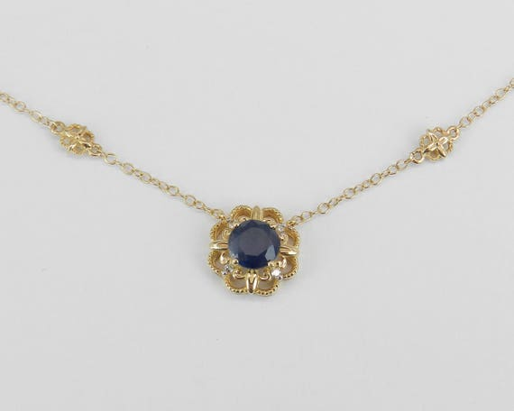 """Diamond and Sapphire Halo Flower Pendant Necklace 14K Yellow Gold 17"""" Chain"""