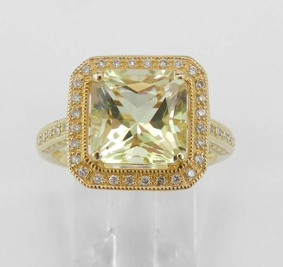 5.25 ct Diamond and Radiant Cut Lemon Quartz Halo Engagement Ring 14K Yellow Gold Size 7