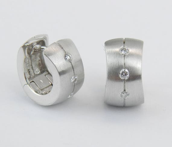 18K White Gold Diamond Huggie Huggies Hoop Earrings Wide Hoops Modern Design
