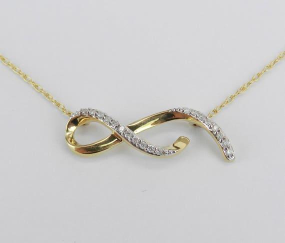 "Yellow Gold Diamond Necklace Pendant 18.5"" Chain Infinity Ribbon Bar"