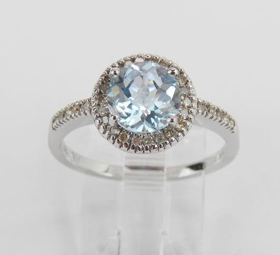 Diamond and Blue Topaz Halo Engagement Promise Ring White Gold Size 7 December Birthstone