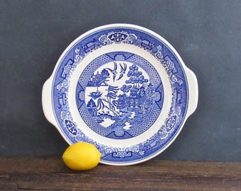 "Blue Willow Ware Royal China 10.5"" Cake Plate, Royal-Ironstone, Willow Ware Platter"