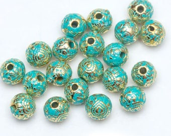6mm 25CT. Metal Vintage Green and Gold Beads, Tibetan Silver Spacer Beads for Bracelet Jewelry Making, Y65