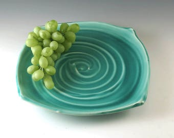 Ceramic Plate - Serving Plate - Pottery Dinner Plate - Square Ceramic Plate - Handmade Plate - Pottery Dish - Turquoise Plate - P107