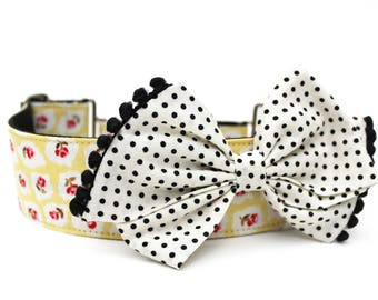 Dog Collar Bow Add-On Bow For Dog Collar Polka Dot Dog Bow Accessory