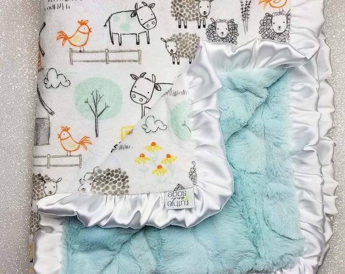 READY TO SHIP Minky blanket, baby boy, baby girl, farm blanket, animal blanket, aqua and white, grey and white, sheep, cow, baby blanket
