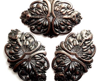 Brass Filigree Blank, 3 Piece, Beading Filigree, Bracelet Base, Floral Base, Rusted Iron Brass, US Made, Bsue Boutiques, 60x92mm, Item03477