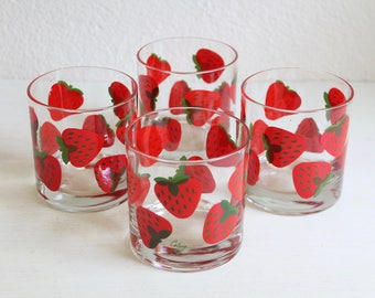 Vintage Colony Strawberry Cocktail Glasses, Set of 4, Tumblers