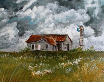 Texas Home Place #1 ** Windmill ** Acrylic OOAK ** 8 X 10